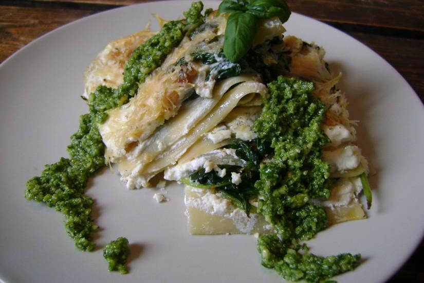 Lasagne met spinazie ricotta en pesto