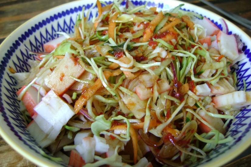Aziatische salade met soja sambal dressing
