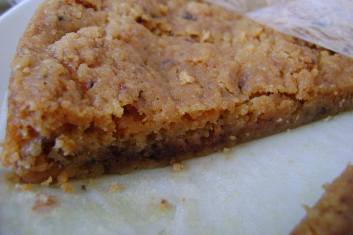 Chocolate chip toffee taart, stukje