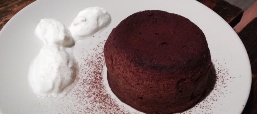Chocolade fondant cake, tekstfoto