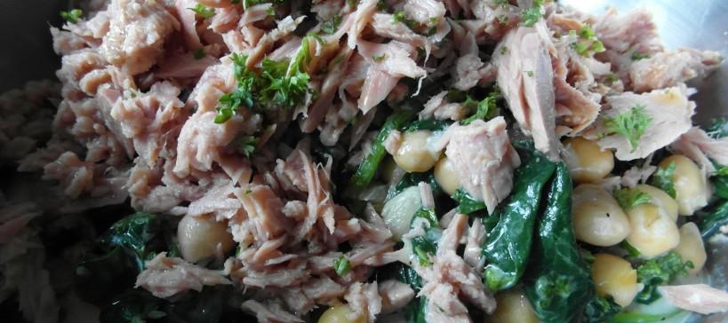 Tonijn kikkererwt salade met gorgonzolasaus, tekst