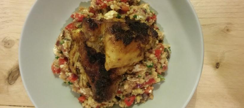 Kruidige kip met frisse couscous, tekst